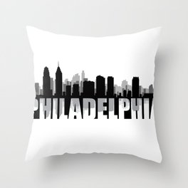 Philadelphia Silhouette Skyline Throw Pillow