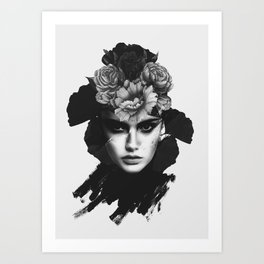 woman with flowers(black and white) Art Print