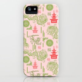 Pink and Green Chinoiserie iPhone Case