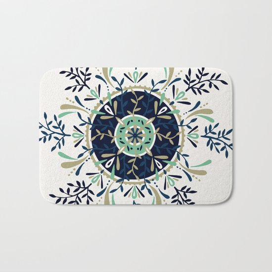 Leaf Mandala – Navy & Mint Palette Bath Mat