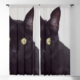 Pretty Kitty, Black Cat With Huge Green Eyes, Halloween Cat Blackout Curtain