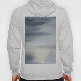 Calm Monochromatic Black & Grey Abstract Watercolor Seascape Hoody