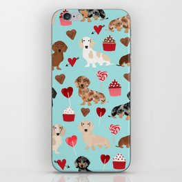 Dachsund dachsie doxie valentines day valentine hearts love cupcakes cute dog gifts iPhone Skin