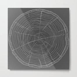 Tree rings grey Metal Print