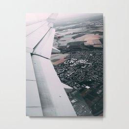 Sky view, airplane wing Metal Print