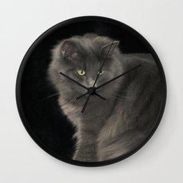 Cat Grey Cat Cute Gray Cat Long Haired Cat Green Eyes Green Eyed Cat Beautiful Cat Wall Clock