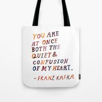 kafka Tote Bags featuring Kafka by Mei Lee