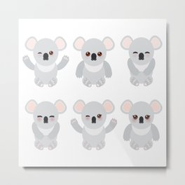 Funny cute koala set on white background Metal Print