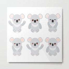 Funny cute koala set on white background Metal Print
