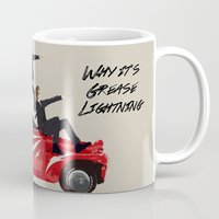 "grease Mugs featuring ""Why it's grease lightning"" by Karu Kara"