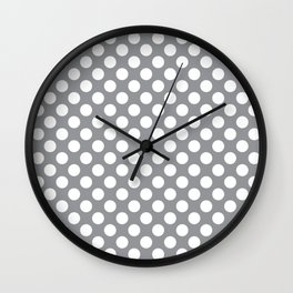 White Polka Dots with Grey Background Wall Clock