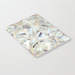 Pale Bright Mint and Sage Art Deco Marbling Notebook