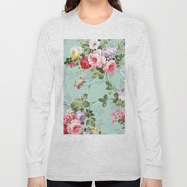 Elegant chic pink green roses flowers pattern Long Sleeve T-shirt