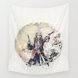 Jack Sparrow with double pistols Wall Tapestry