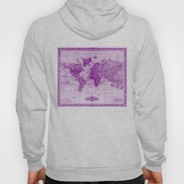 Vintage Map of The World (1833) White & Purple Hoody