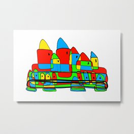 Colored Little Village for Kids Metal Print