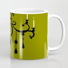 A Chandler with Candles and a Green Background Coffee Mug