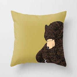 shy bear (beige background) Throw Pillow