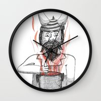 cooking Wall Clocks featuring Cooking  by Adrienne S. Price