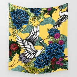 Cranes (Blue) Wall Tapestry