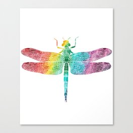 Gorgeous Rainbow Watercolor Dragonfly Silhouette Canvas Print