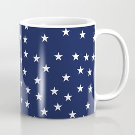 Navy blue background with white stars seamless pattern Coffee Mug