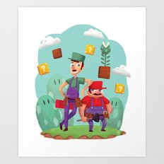 Mario and Luigi! Art Print