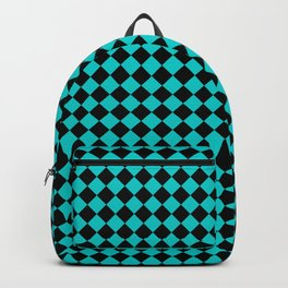 Black and Cyan Diamonds Backpack