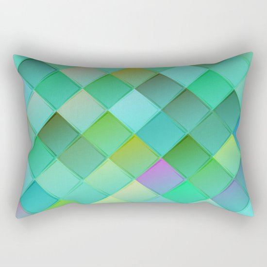 Green pattern with squares.Trendy print. Modern graphic design. Rectangular Pillow