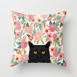 Black Cat cat breed floral pattern background pet gifts cats kitten mom gifts Throw Pillow