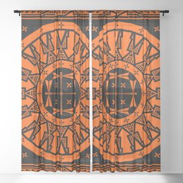 Ancestors (Orange) Sheer Curtain