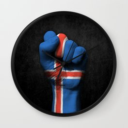 Icelandic Flag on a Raised Clenched Fist Wall Clock