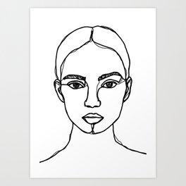 Model face line drawing - Bobbi Art Print