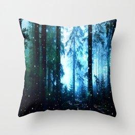 Fireflies Night Forest Throw Pillow