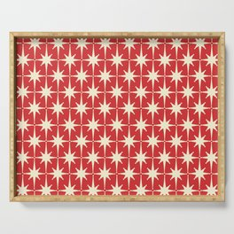 Atomic Age Starbursts - Midcentury Modern Pattern in Cream and Retro Christmas Red Serving Tray