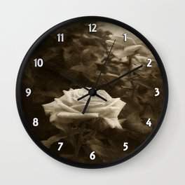 Pink Roses in Anzures 5 Antiqued Wall Clock