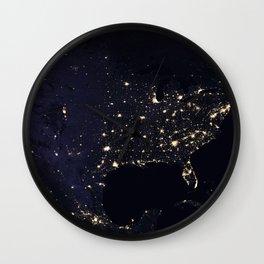 United States at Night Wall Clock