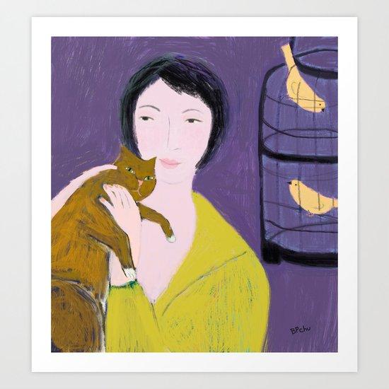 Girl in the Yellow Sweater Art Print