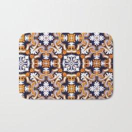 Portuguese Tiles Azulejos Blue Orange Pattern Bath Mat