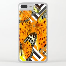 CONTEMPORARY  BUTTERFLIES ORANGE-YELLOW GRAPHIC ART Clear iPhone Case