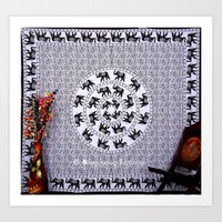 bedding Art Prints featuring Black and White Elephant Mandala Flower Tapestry Bedding by Ved India