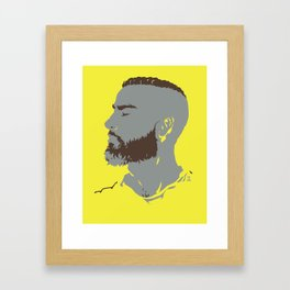 Bearded Man I - Yellow Framed Art Print
