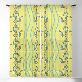 Contemporary Artwork Design Flamingos Sheer Curtain