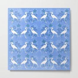 Blue Heron Silhouette Pattern Metal Print