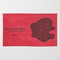 super mario Area & Throw Rugs featuring Super Mario Typography by Kody Christian