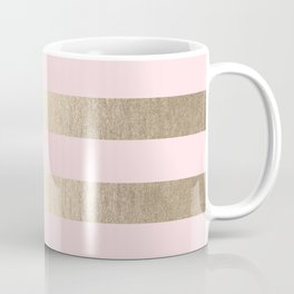 Simply Striped in White Gold Sands and Flamingo Pink Coffee Mug