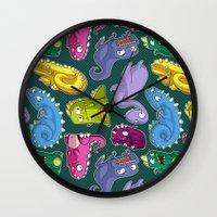 dinosaurs Wall Clocks featuring Dinosaurs by Fabio Leone