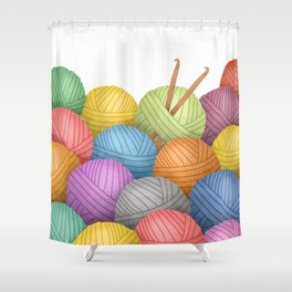 Two Crochet Hooks And A Lot Of Yarn Shower Curtain
