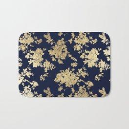 Elegant vintage navy blue faux gold flowers Bath Mat