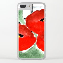 Poppies and Plaid Clear iPhone Case